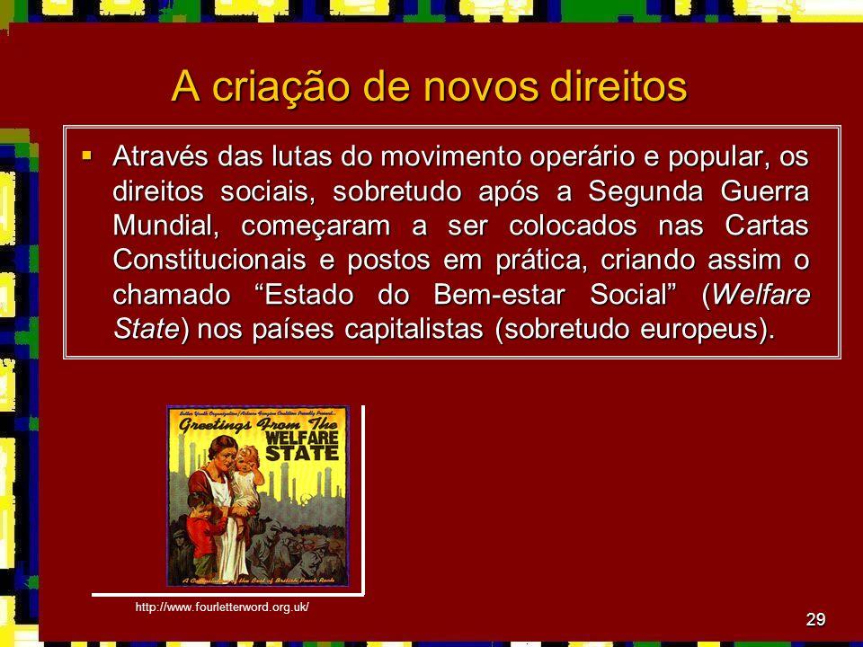 29 A criação de novos direitos Através das lutas do movimento operário e popular, os direitos sociais, sobretudo após a Segunda Guerra Mundial, começa