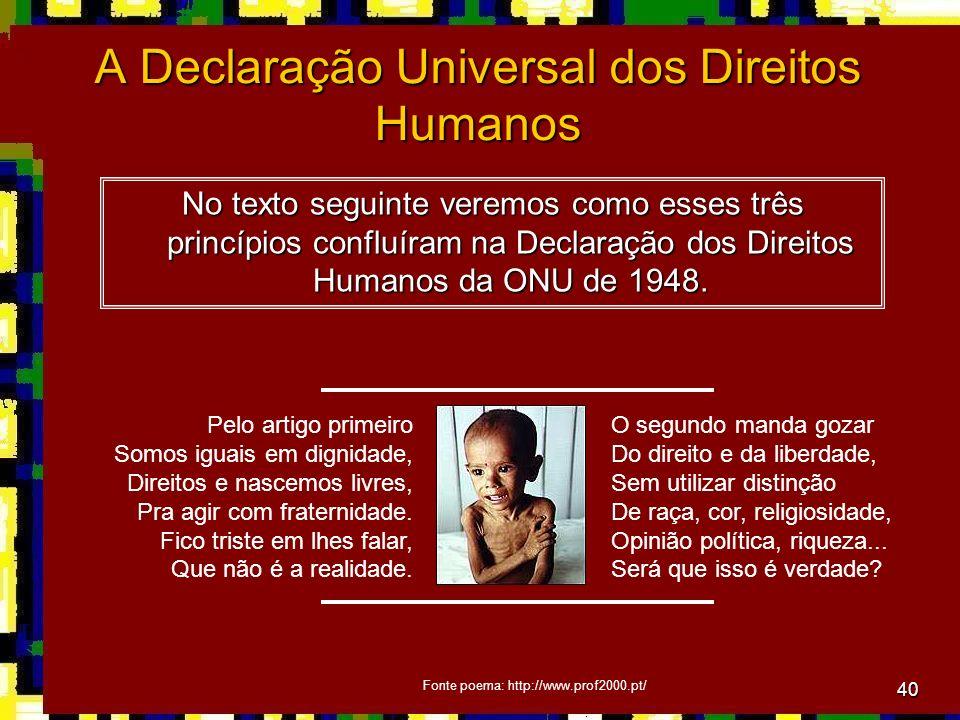 40 A Declaração Universal dos Direitos Humanos No texto seguinte veremos como esses três princípios confluíram na Declaração dos Direitos Humanos da ONU de 1948.