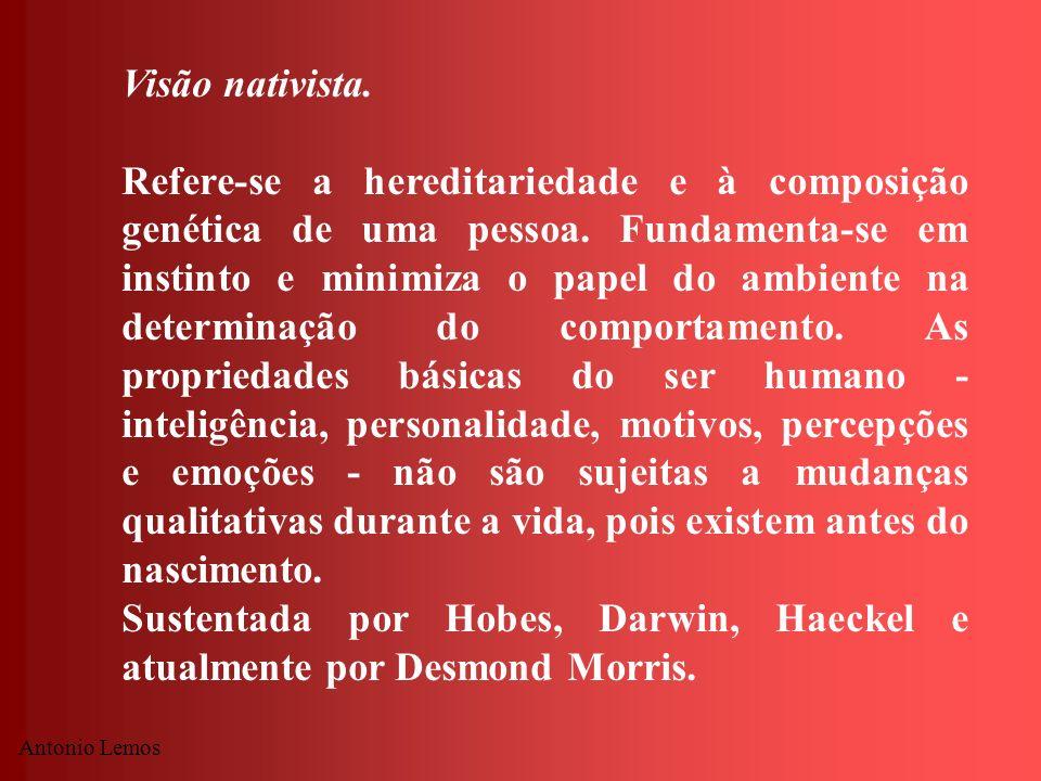 Antonio Lemos Visão nativista. Refere-se a hereditariedade e à composição genética de uma pessoa. Fundamenta-se em instinto e minimiza o papel do ambi