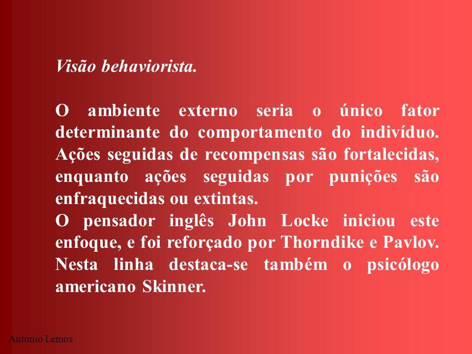 Antonio Lemos Visão behaviorista. O ambiente externo seria o único fator determinante do comportamento do indivíduo. Ações seguidas de recompensas são