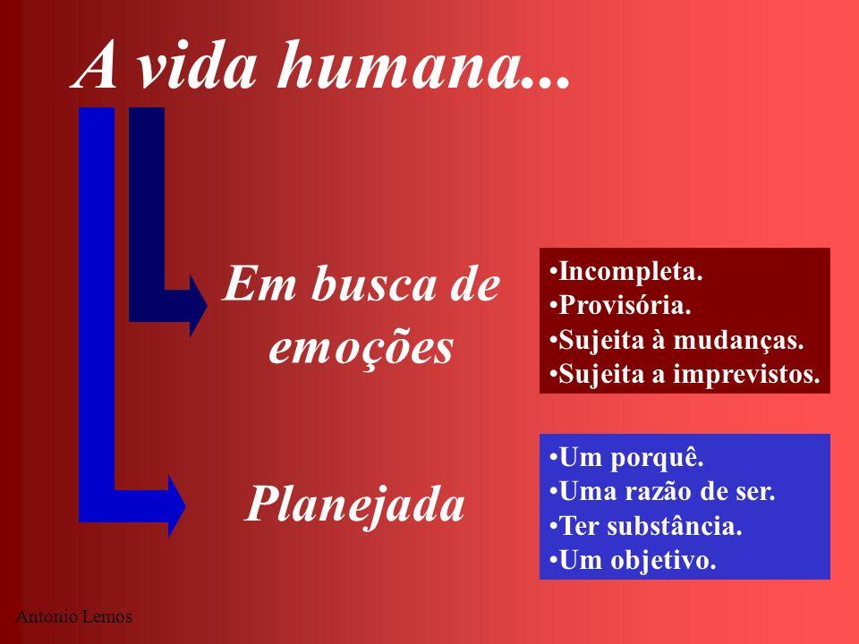 Antonio Lemos A vida humana... Em busca de emoções Planejada Incompleta. Provisória. Sujeita à mudanças. Sujeita a imprevistos. Um porquê. Uma razão d