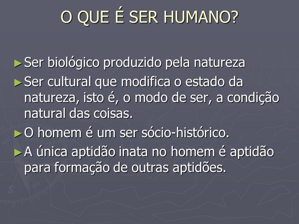 O QUE É SER HUMANO? Ser biológico produzido pela natureza Ser biológico produzido pela natureza Ser cultural que modifica o estado da natureza, isto é
