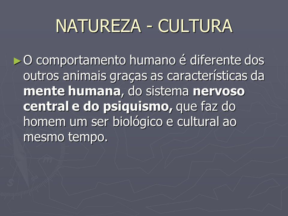 NATUREZA - CULTURA O comportamento humano é diferente dos outros animais graças as características da mente humana, do sistema nervoso central e do ps