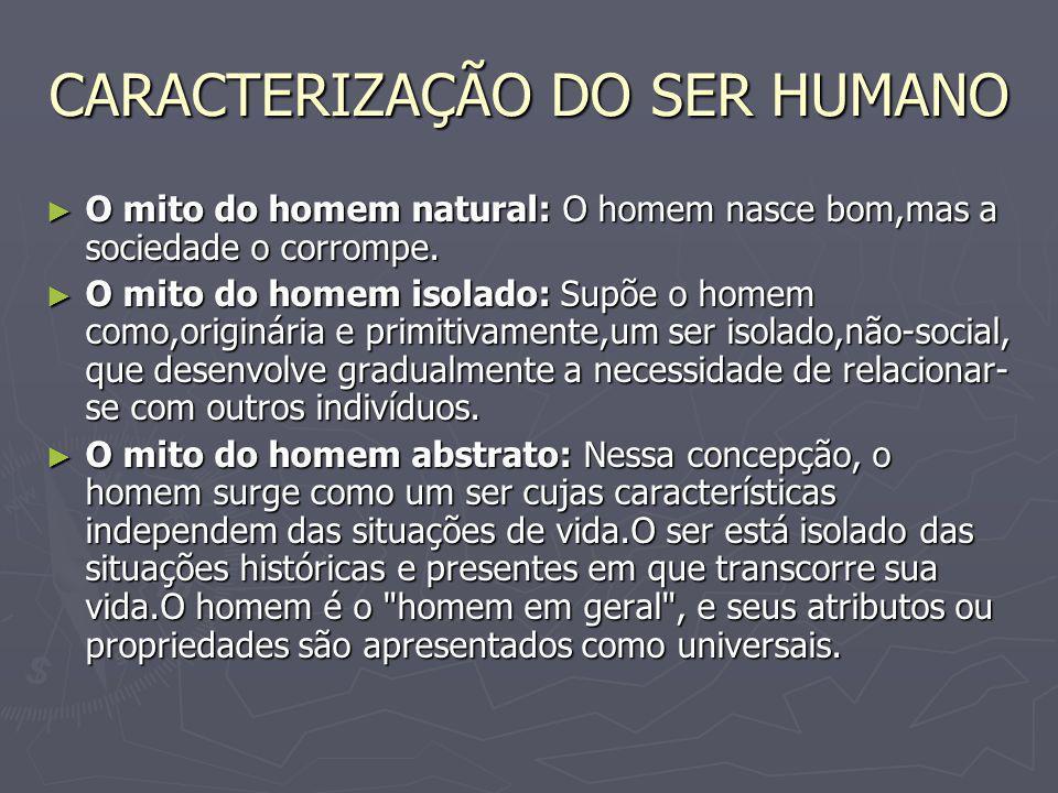 CARACTERIZAÇÃO DO SER HUMANO O mito do homem natural: O homem nasce bom,mas a sociedade o corrompe. O mito do homem natural: O homem nasce bom,mas a s