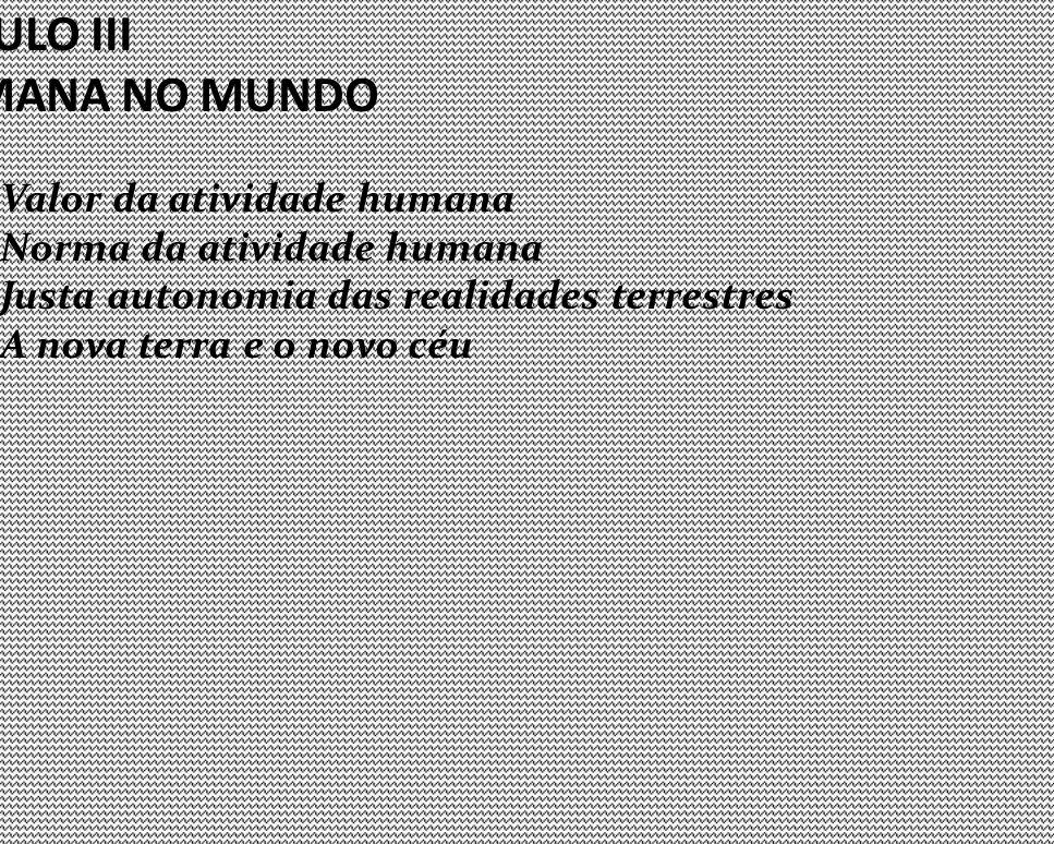 CAPÍTULO III A ATIVIDADE HUMANA NO MUNDO Valor da atividade humana Norma da atividade humana Justa autonomia das realidades terrestres A nova terra e o novo céu