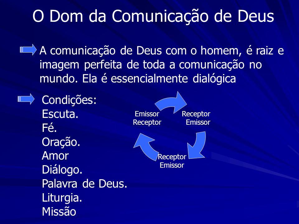 O Dom da Comunicação de Deus Condições: Escuta. Fé. Oração. Amor Diálogo. Palavra de Deus. Liturgia. Missão A comunicação de Deus com o homem, é raiz