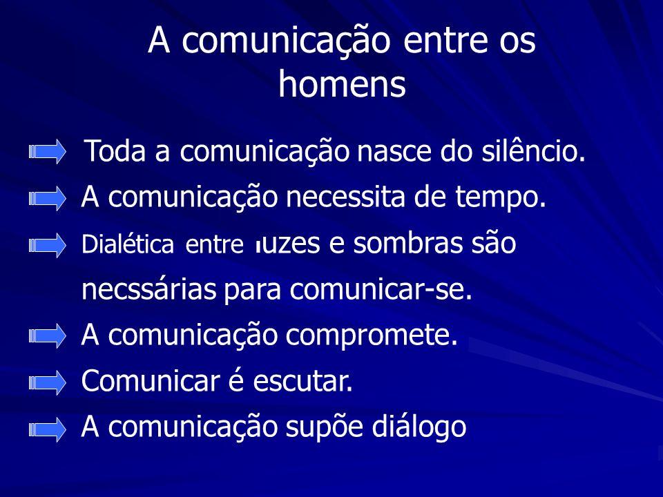 A comunicação entre os homens Toda a comunicação nasce do silêncio. A comunicação necessita de tempo. Dialética entre l uzes e sombras são necssárias