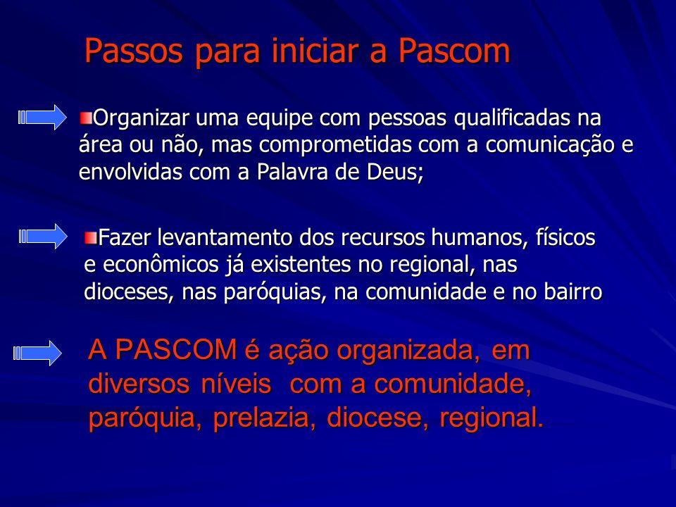 Passos para iniciar a Pascom A PASCOM é ação organizada, em diversos níveis com a comunidade, paróquia, prelazia, diocese, regional. Organizar uma equ