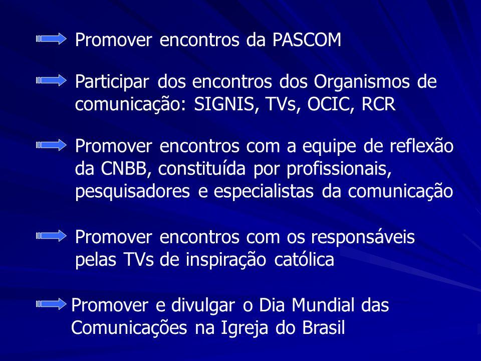 Promover encontros da PASCOM Participar dos encontros dos Organismos de comunicação: SIGNIS, TVs, OCIC, RCR Promover encontros com a equipe de reflexã
