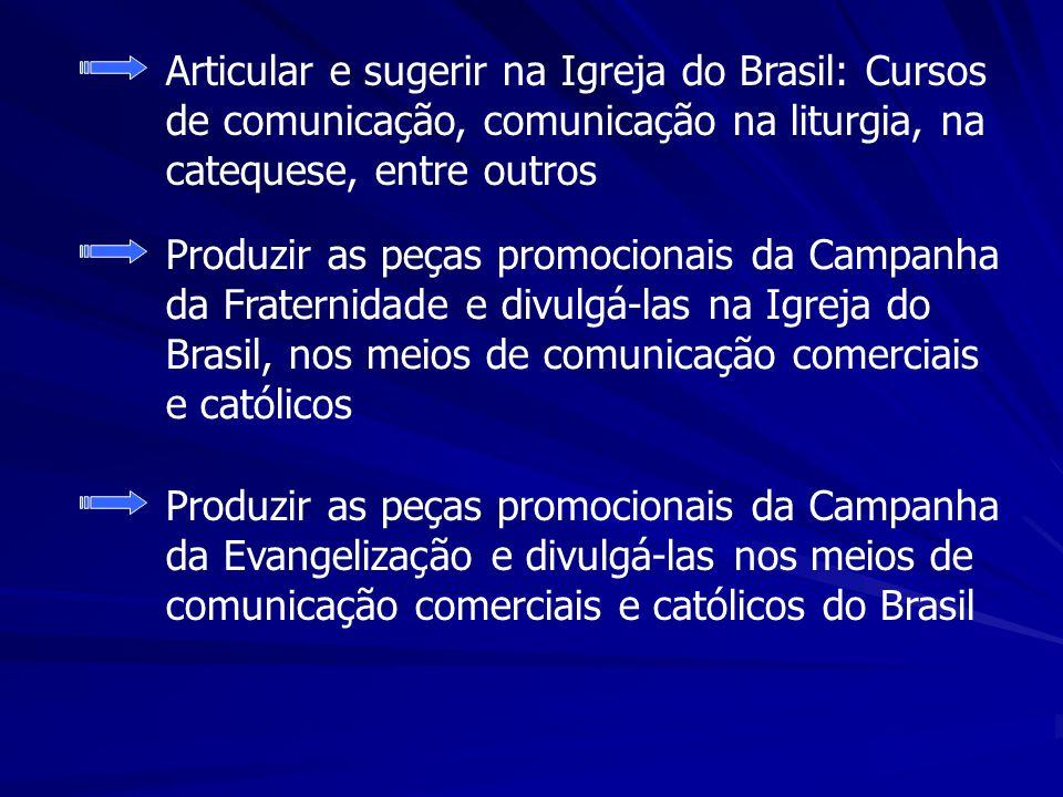 Articular e sugerir na Igreja do Brasil: Cursos de comunicação, comunicação na liturgia, na catequese, entre outros Produzir as peças promocionais da