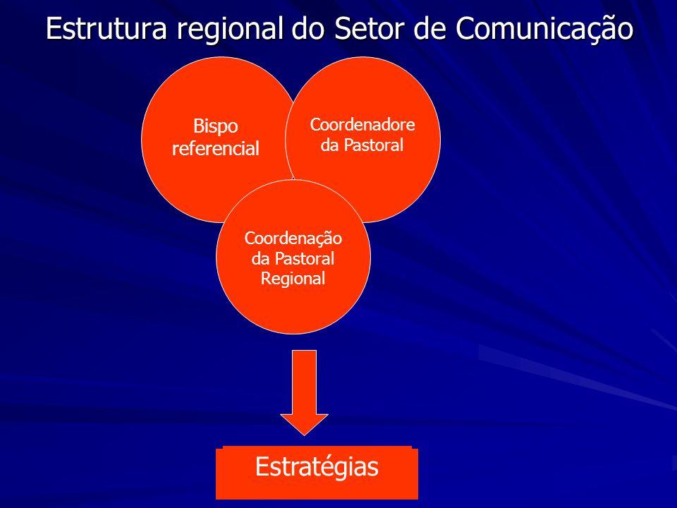 Estrutura regional do Setor de Comunicação Bispo referencial Coordenadore da Pastoral Coordenação da Pastoral Regional Estratégias