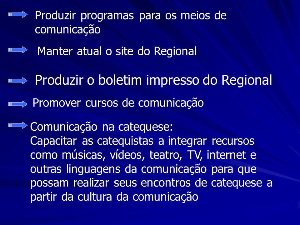 Produzir o boletim impresso do Regional Promover cursos de comunicação Produzir programas para os meios de comunicação Manter atual o site do Regional