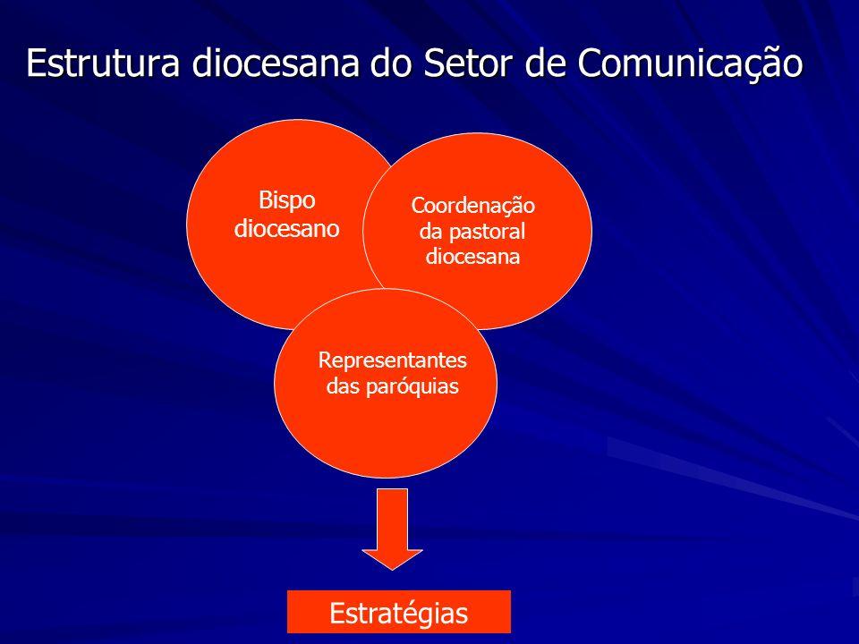 Estrutura diocesana do Setor de Comunicação Bispo diocesano Coordenação da pastoral diocesana Representantes das paróquias Estratégias