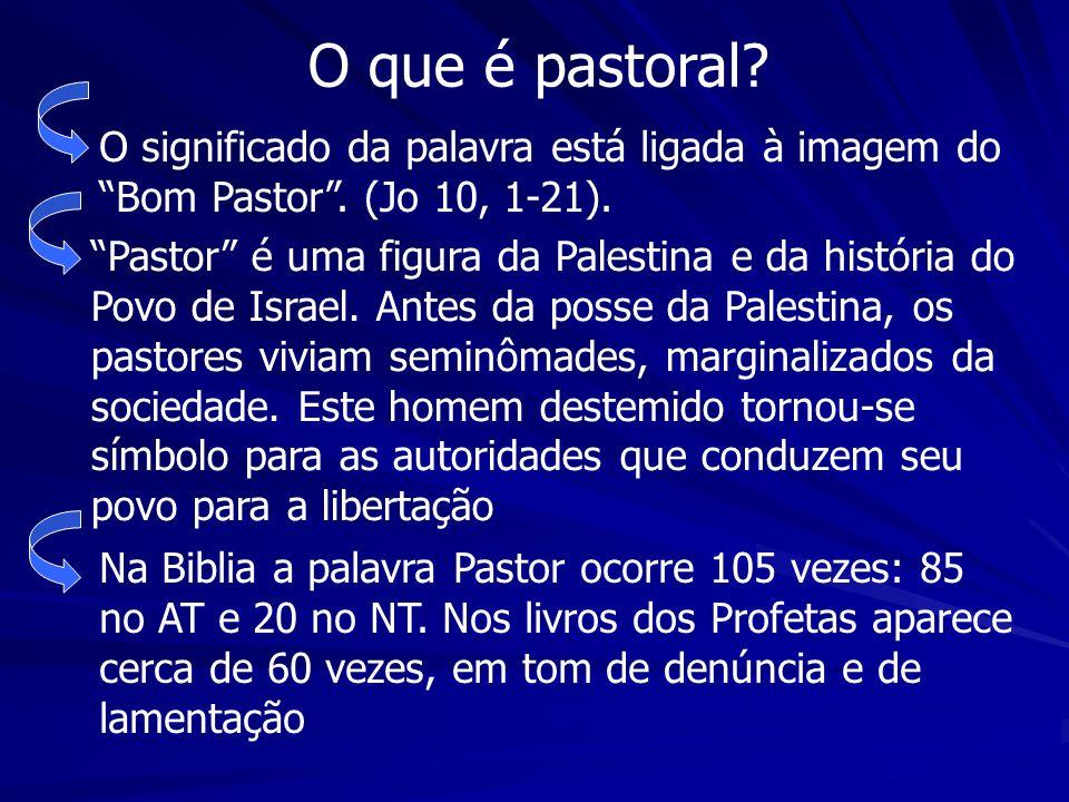 O que é pastoral? O significado da palavra está ligada à imagem do Bom Pastor. (Jo 10, 1-21). Pastor é uma figura da Palestina e da história do Povo d