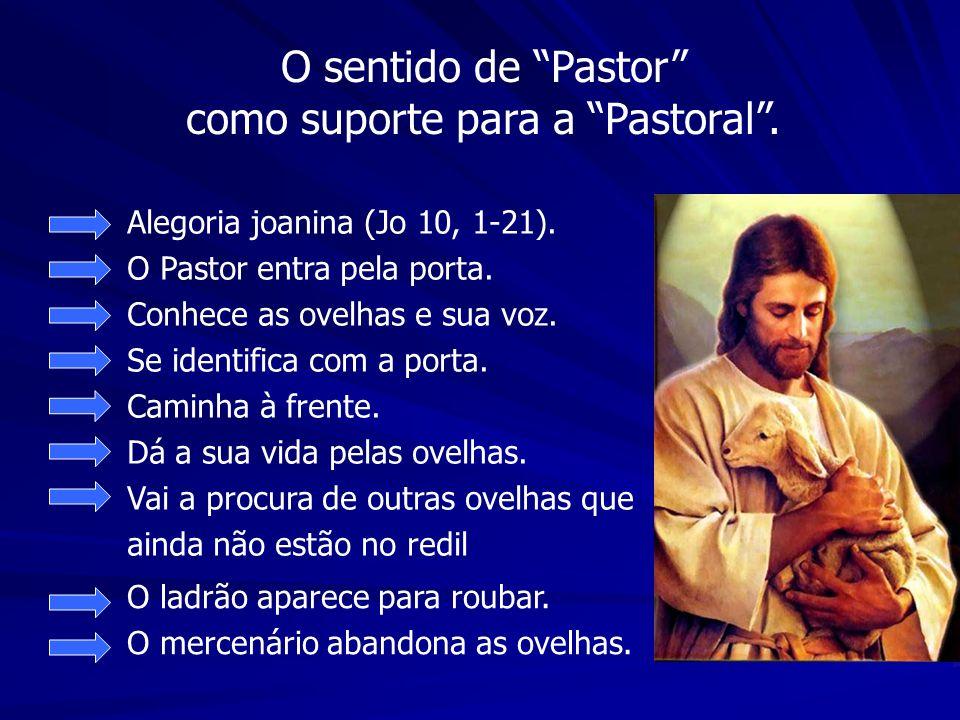 O sentido de Pastor como suporte para a Pastoral. Alegoria joanina (Jo 10, 1-21). O Pastor entra pela porta. Conhece as ovelhas e sua voz. Se identifi