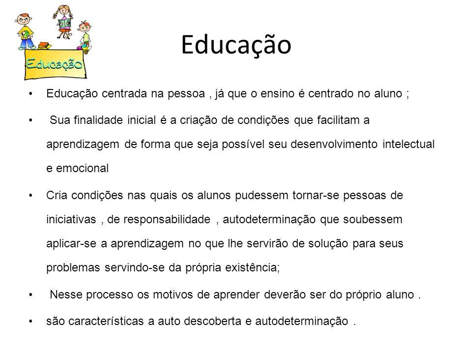 Educação Educação centrada na pessoa, já que o ensino é centrado no aluno ; Sua finalidade inicial é a criação de condições que facilitam a aprendizag