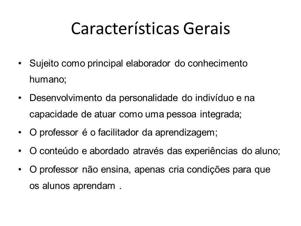 Características Gerais Sujeito como principal elaborador do conhecimento humano; Desenvolvimento da personalidade do indivíduo e na capacidade de atua