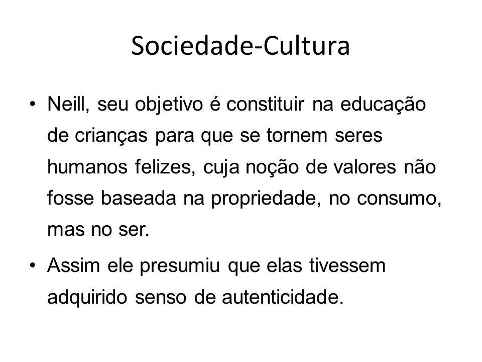 Sociedade-Cultura Neill, seu objetivo é constituir na educação de crianças para que se tornem seres humanos felizes, cuja noção de valores não fosse b