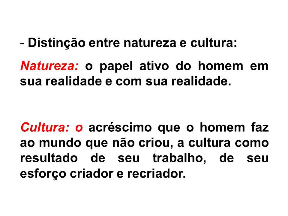 - Distinção entre natureza e cultura: Natureza: o papel ativo do homem em sua realidade e com sua realidade.