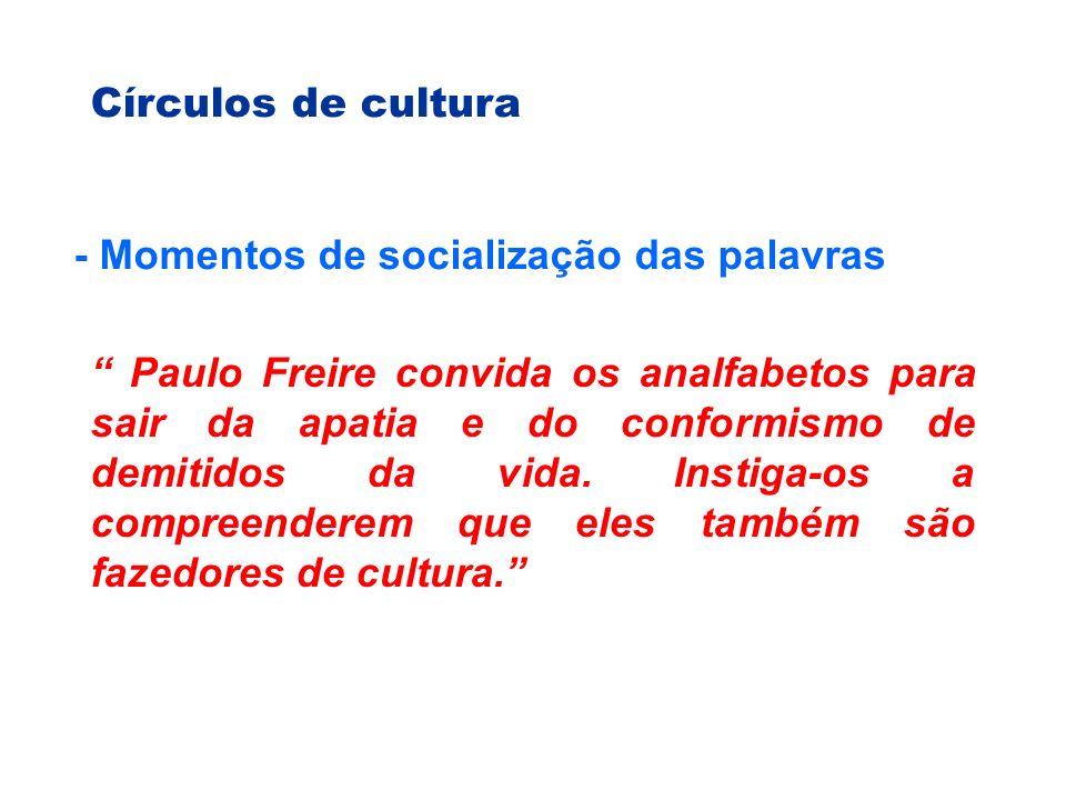 Círculos de cultura - Momentos de socialização das palavras Paulo Freire convida os analfabetos para sair da apatia e do conformismo de demitidos da vida.