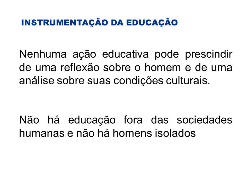 INSTRUMENTAÇÃO DA EDUCAÇÃO Nenhuma ação educativa pode prescindir de uma reflexão sobre o homem e de uma análise sobre suas condições culturais.