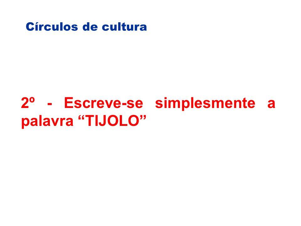 Círculos de cultura 2º - Escreve-se simplesmente a palavra TIJOLO