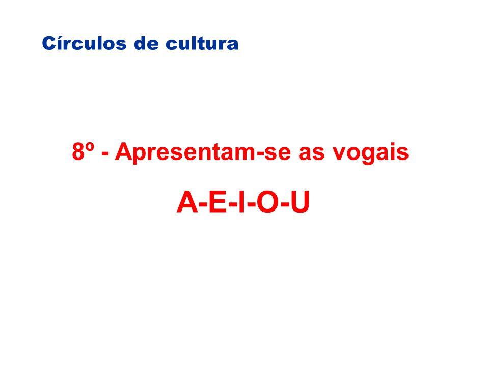 Círculos de cultura 8º - Apresentam-se as vogais A-E-I-O-U