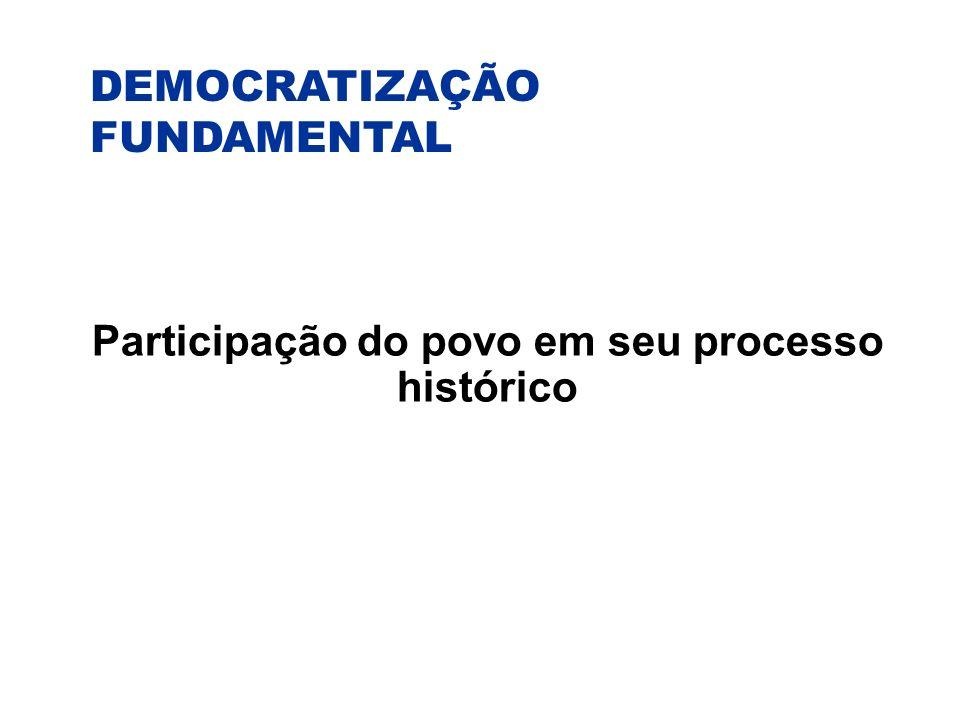 DEMOCRATIZAÇÃO FUNDAMENTAL Participação do povo em seu processo histórico