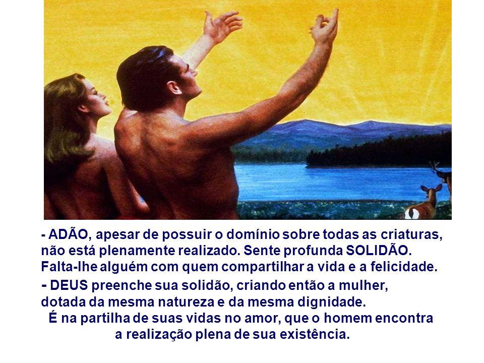 A 1ª Leitura apresenta Deus criando o Homem e a Mulher, para se completarem, para se ajudarem, para se amarem.