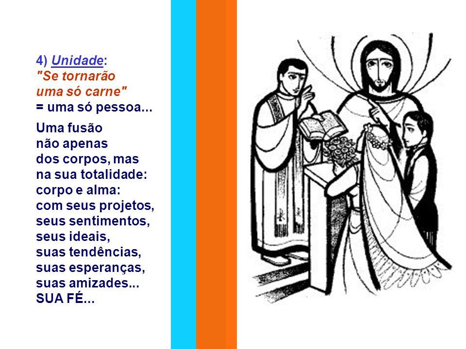 3) Homem e mulher são iguais em dignidade.Eles são da mesma carne , partícipes do mesmo destino.
