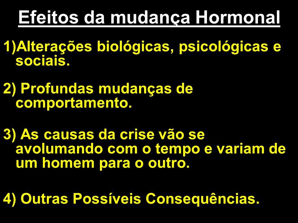 Efeitos da mudança Hormonal 1)Alterações biológicas, psicológicas e sociais. 2) Profundas mudanças de comportamento. 3) As causas da crise vão se avol