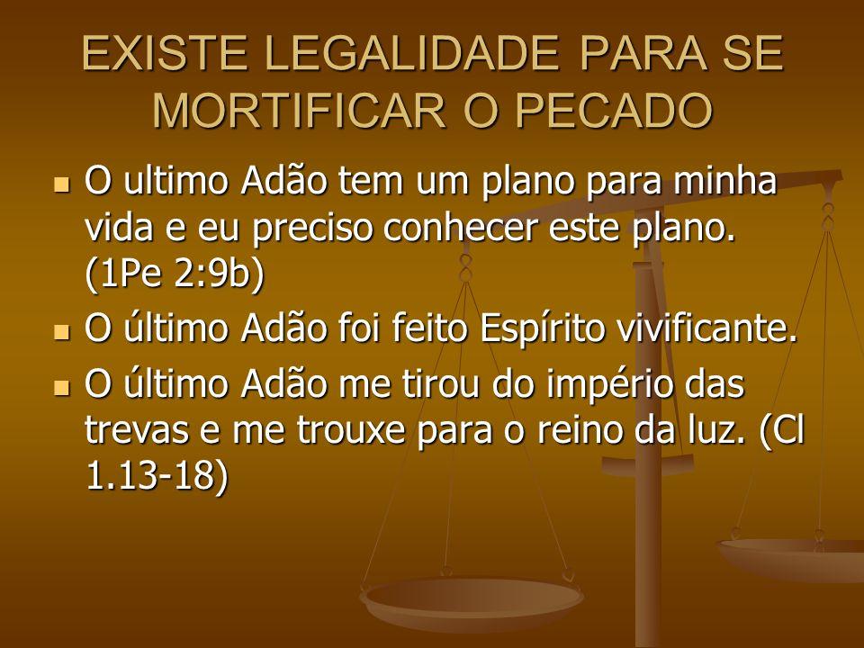 EXISTE LEGALIDADE PARA SE MORTIFICAR O PECADO O ultimo Adão tem um plano para minha vida e eu preciso conhecer este plano. (1Pe 2:9b) O ultimo Adão te
