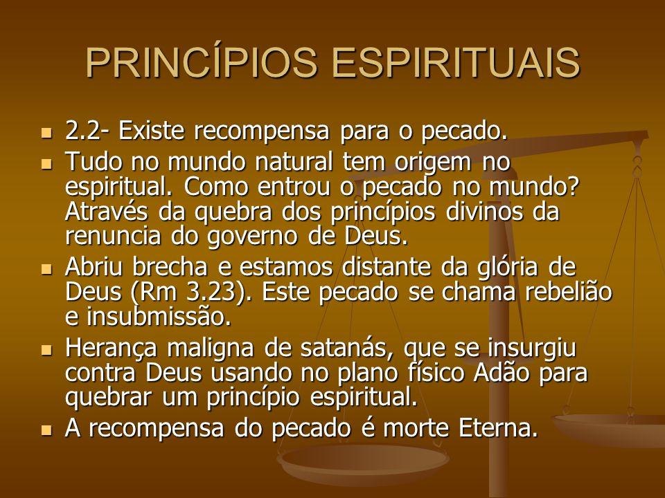 PRINCÍPIOS ESPIRITUAIS 2.2- Existe recompensa para o pecado. 2.2- Existe recompensa para o pecado. Tudo no mundo natural tem origem no espiritual. Com