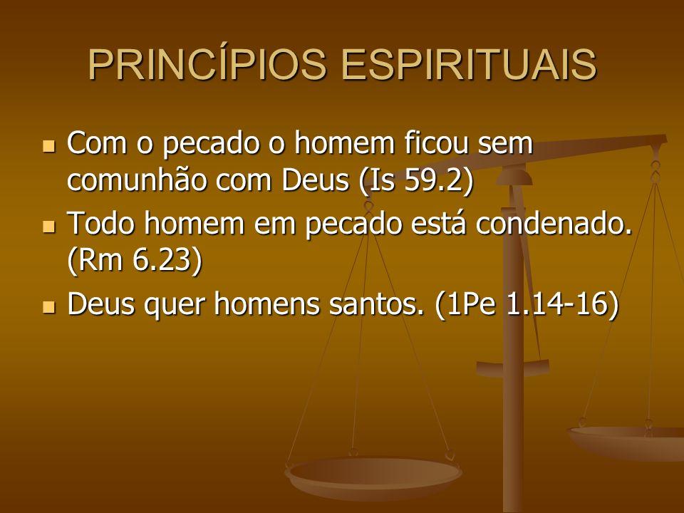 PRINCÍPIOS ESPIRITUAIS Com o pecado o homem ficou sem comunhão com Deus (Is 59.2) Com o pecado o homem ficou sem comunhão com Deus (Is 59.2) Todo homem em pecado está condenado.
