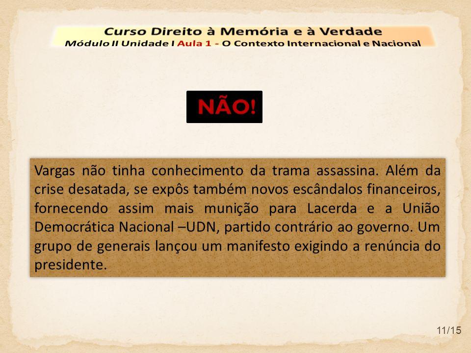 11/15 Vargas não tinha conhecimento da trama assassina. Além da crise desatada, se expôs também novos escândalos financeiros, fornecendo assim mais mu