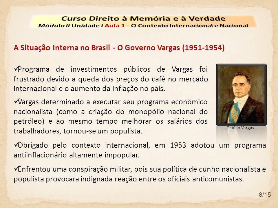 8/15 A Situação Interna no Brasil - O Governo Vargas (1951-1954) Obrigado pelo contexto internacional, em 1953 adotou um programa antiinflacionário al