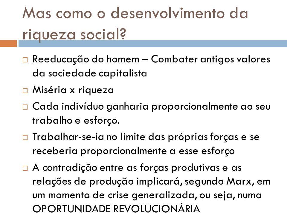 Mas como o desenvolvimento da riqueza social? Reeducação do homem – Combater antigos valores da sociedade capitalista Miséria x riqueza Cada indivíduo