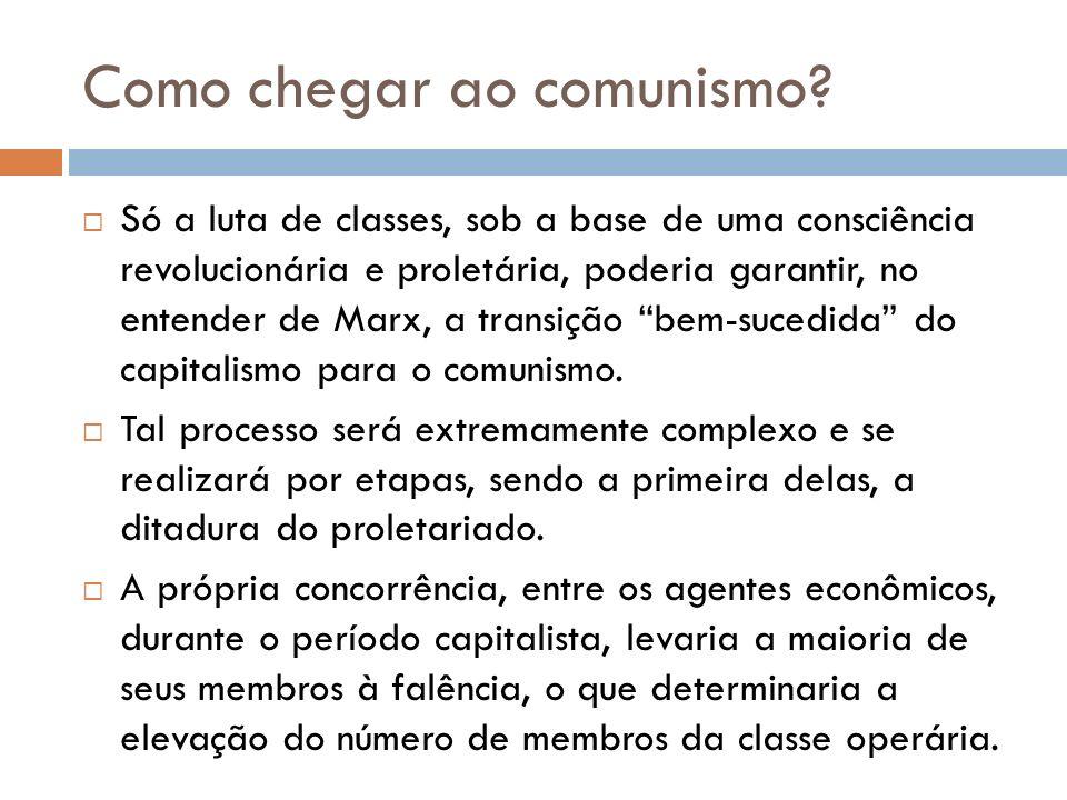 Como chegar ao comunismo? Só a luta de classes, sob a base de uma consciência revolucionária e proletária, poderia garantir, no entender de Marx, a tr