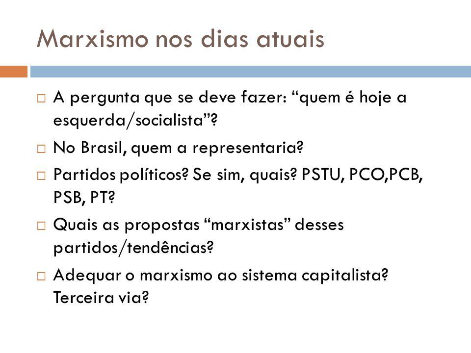 Marxismo nos dias atuais A pergunta que se deve fazer: quem é hoje a esquerda/socialista? No Brasil, quem a representaria? Partidos políticos? Se sim,