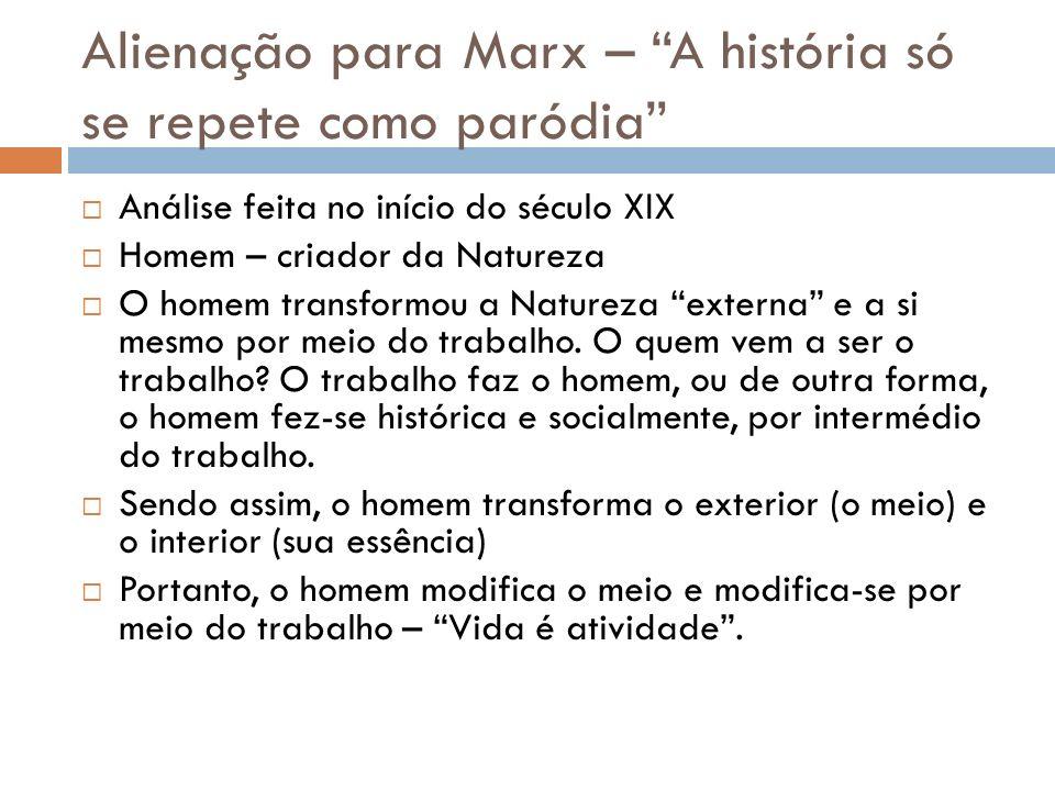 Alienação para Marx – A história só se repete como paródia Análise feita no início do século XIX Homem – criador da Natureza O homem transformou a Nat