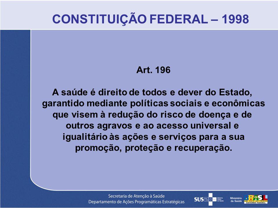 CONSTITUIÇÃO FEDERAL – 1998 Art. 196 A saúde é direito de todos e dever do Estado, garantido mediante políticas sociais e econômicas que visem à reduç