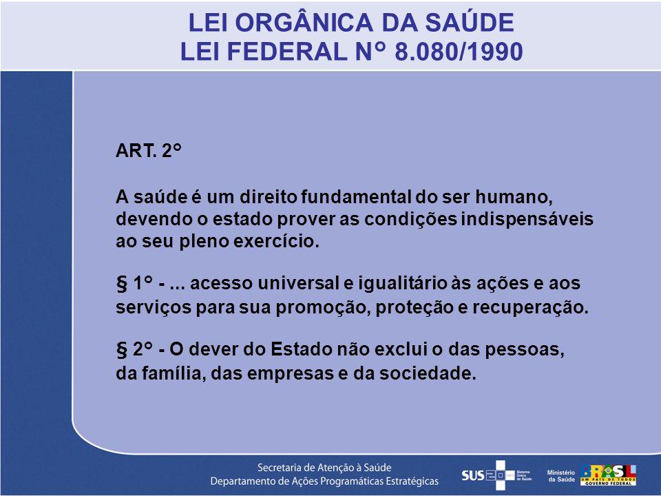 LEI ORGÂNICA DA SAÚDE LEI FEDERAL N° 8.080/1990 ART. 2° A saúde é um direito fundamental do ser humano, devendo o estado prover as condições indispens