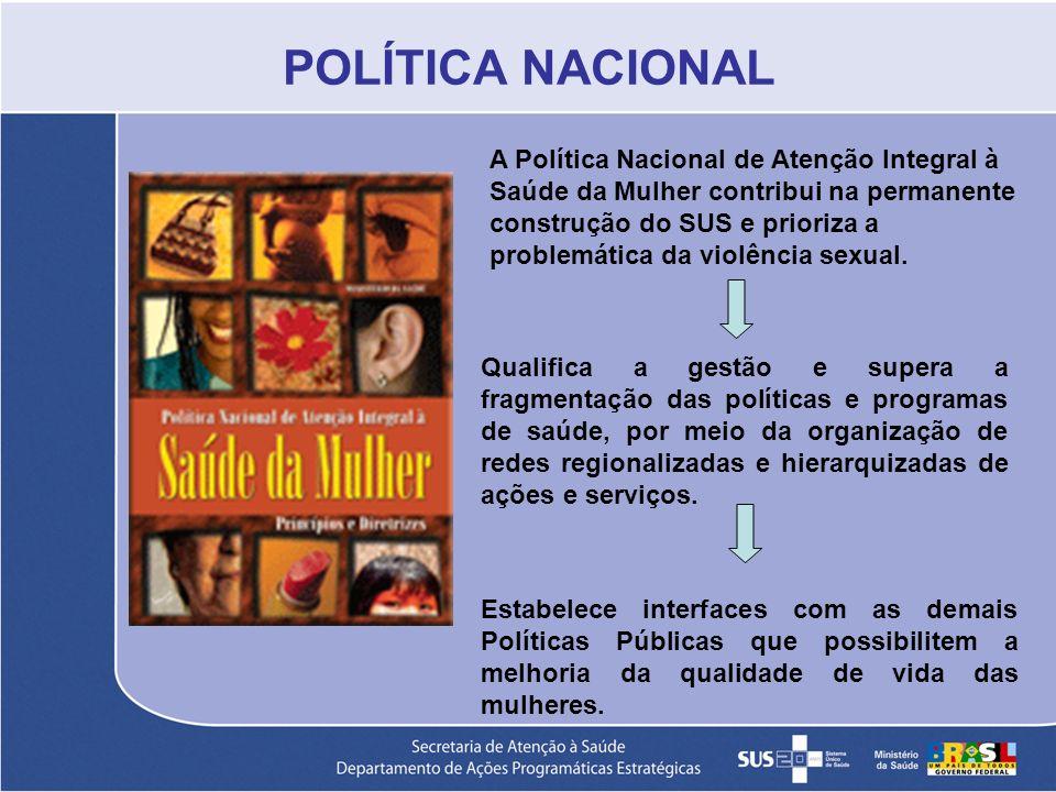 A Política Nacional de Atenção Integral à Saúde da Mulher contribui na permanente construção do SUS e prioriza a problemática da violência sexual. Qua