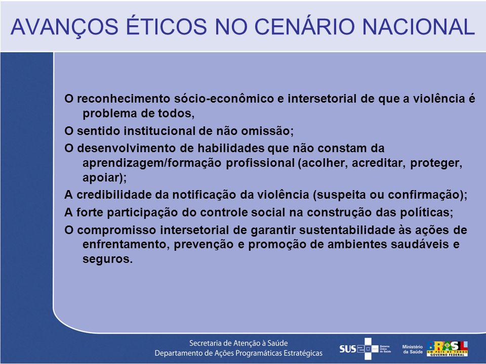 AVANÇOS ÉTICOS NO CENÁRIO NACIONAL O reconhecimento sócio-econômico e intersetorial de que a violência é problema de todos, O sentido institucional de