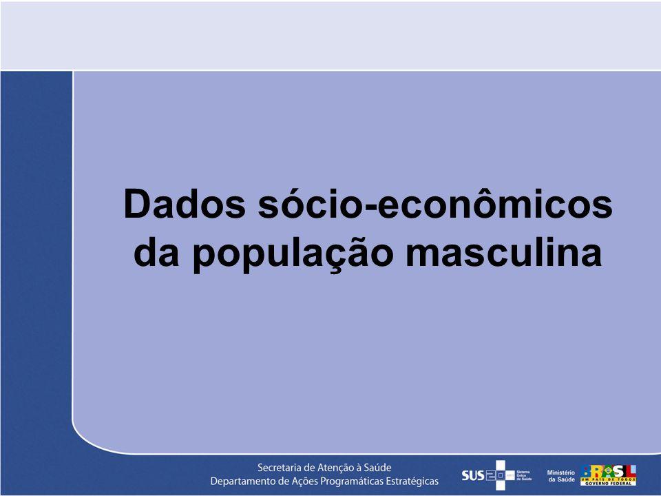 População Total do Brasil População Masculina 93 042 111 49,1% População Feminina 96 293 080 50,9% População alvo: 20 a 59 anos 54,4% da população masculina 50 618 551 Fonte: Estimativas preliminares IBGE - Censos Demográficos