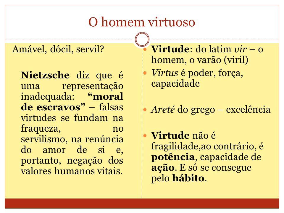 O homem virtuoso Amável, dócil, servil? Nietzsche diz que é uma representação inadequada: moral de escravos – falsas virtudes se fundam na fraqueza, n