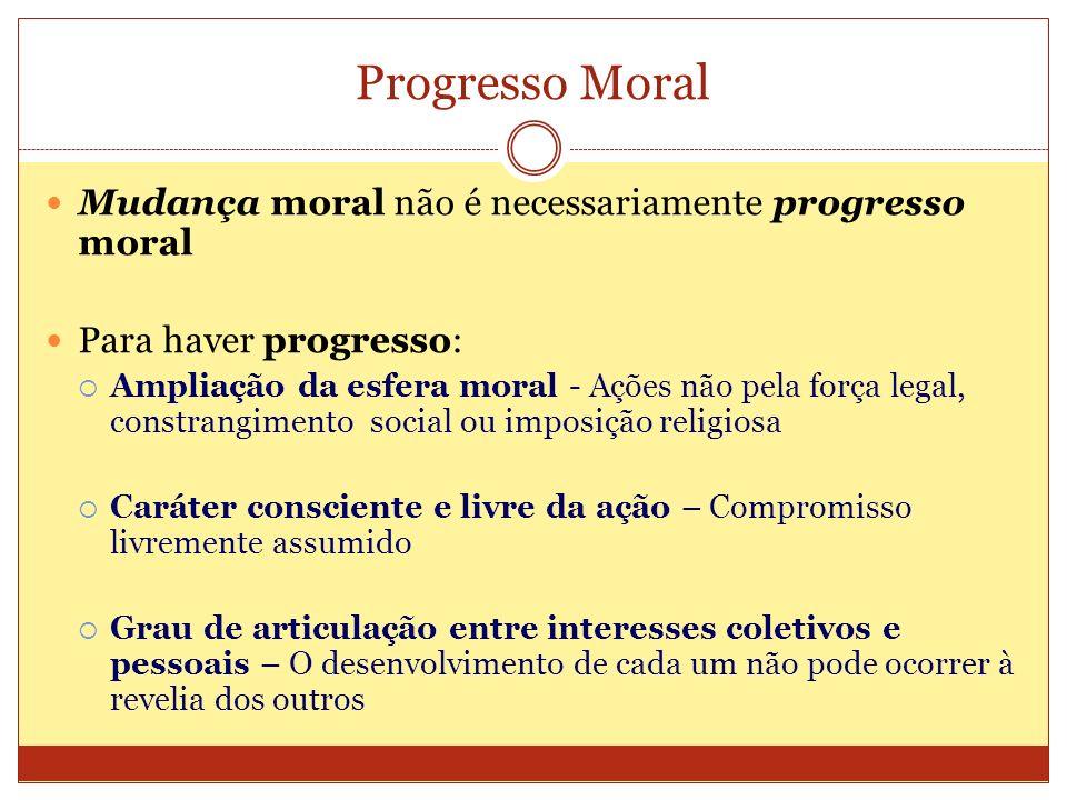 Progresso Moral Mudança moral não é necessariamente progresso moral Para haver progresso: Ampliação da esfera moral - Ações não pela força legal, cons