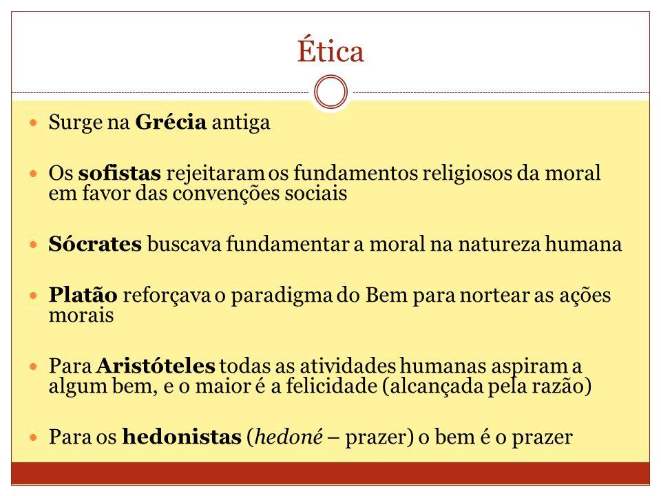 Ética Surge na Grécia antiga Os sofistas rejeitaram os fundamentos religiosos da moral em favor das convenções sociais Sócrates buscava fundamentar a