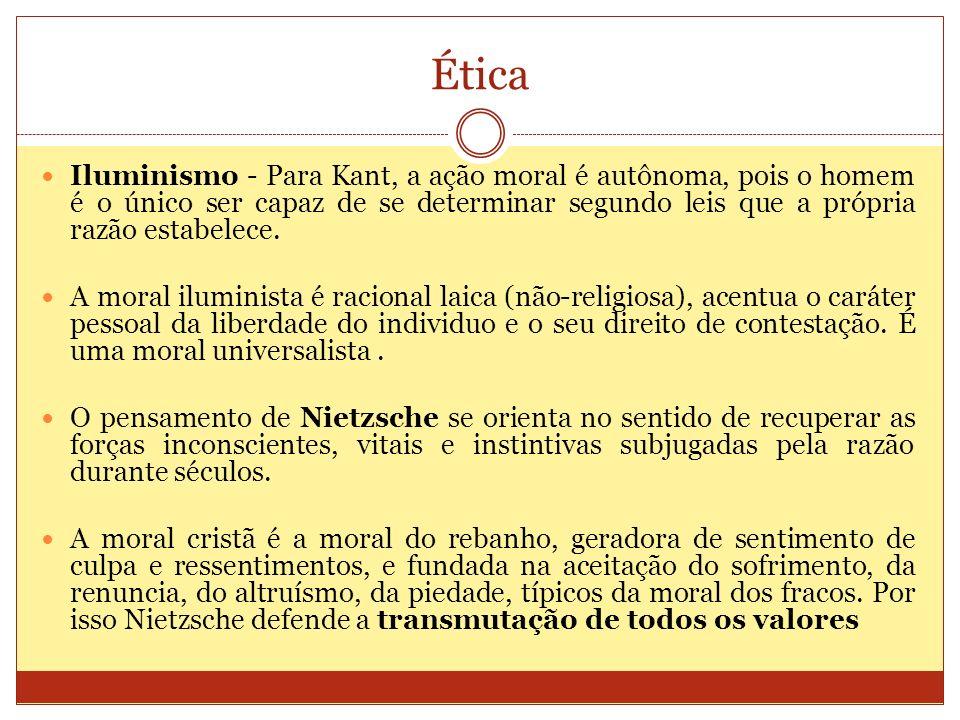 Ética Iluminismo - Para Kant, a ação moral é autônoma, pois o homem é o único ser capaz de se determinar segundo leis que a própria razão estabelece.