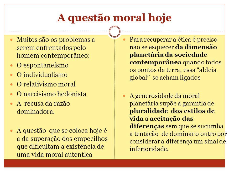 A questão moral hoje Muitos são os problemas a serem enfrentados pelo homem contemporâneo: O espontaneísmo O individualismo O relativismo moral O narc